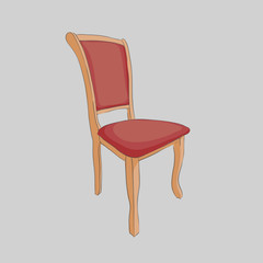 Stylish wooden chair on a gray background