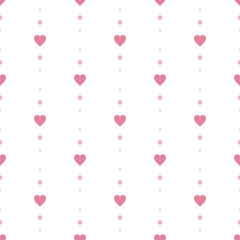 Heart Seamless Pattern Background Vector with Dot