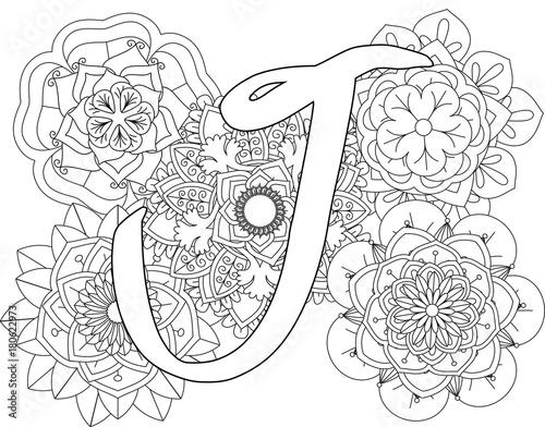Mandala J Monogramlogo Doodle Floral Letters Coloring Book For Adult
