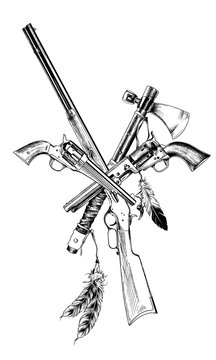 ancient weapons of the wild West, drawn with ink on a white background