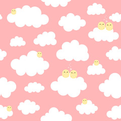 Cute Cartoon Chick Seamless Pattern with Cloud, Vector Illustration