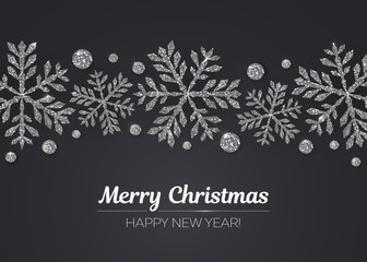 Vector Merry Christmas Happy New Year greeting card design with silver snowflake decoration for holiday season.