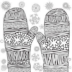 Knitted mittens with snowflakes. Christmas vector. Pattern for adult coloring book. Black and white. Zentangle. Doodle, New Year, Xmas.