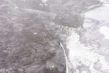texture of ice on a frozen river. lovely nature background in winter