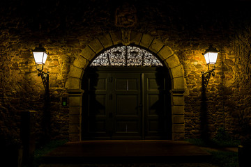 Old door at night