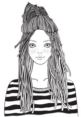 Cool yong girl in a striped sweater. Adult Coloring book page. Young woman. Black and white Hand-drawn vector illustration. Zentangle style.