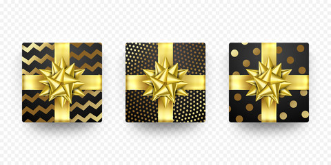 Christmas gift box New Year present in golden ribbon bow and wrapping paper wave foil gold pattern. Vector gift boxes set for Birthday or Christmas holiday greeting card design on white background