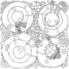 Cheerful snowmen. Above view. Winter, snow, sled, hats, carrot, buttons. Merry Christmas, Happy New Year. Pattern for coloring book. Black and white.