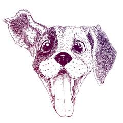 Funny happy dog. Sketch raster illustration of puppy