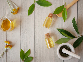 organic skincare bottle  mock up with natural ingredient for bea
