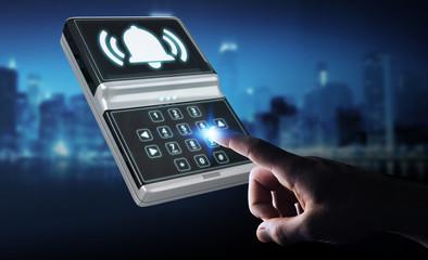 Obraz Businessman using home alarm security device 3D rendering - fototapety do salonu
