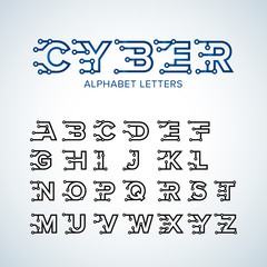 Cyber Techno type font alphabet. Digital hi-tech style letters, numbers and symbols. Stock vector for your headlines, posters etc. Isolated vector illustration.