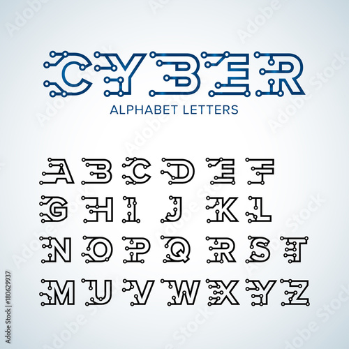 Cyber Techno Type Font Alphabet Digital Hi Tech Style Letters Numbers And Symbols