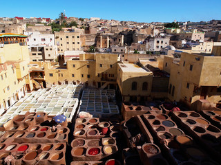 Coloration of leather in a ancient traditional leather tanneries tannery, Fes, Morocco, Africa
