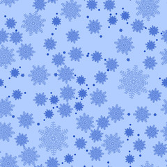 Seamless snowflakes pattern on a blue backdrop. Beautiful christmas background. Vector illustration.