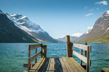 Wooden pier at the lake in Norway