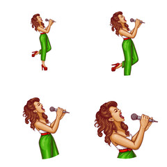 Set of vector pop art round avatar icons for users of social networking, blogs, profile icons. Young pin up sexy girl with brown hair holds a microphone in her hand and sings