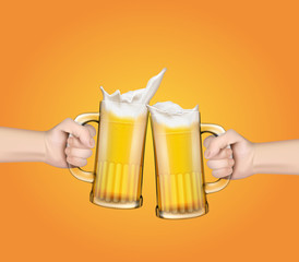 Two vector realistic hands holding glass mugs with beer raised in a festive toast. Two pints of cold foamy craft light beer