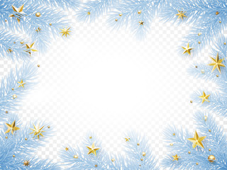 Christmas holiday greeting card background template of New Year fir tree branch wreath frame with frost and golden stars confetti. Vector Christmas or New Year decoration design on transparent white