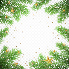 Christmas holiday greeting card background template of New Year fir tree branch wreath frame and golden stars confetti. Vector Christmas or New Year decoration poster design on transparent white