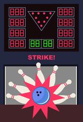 Vector illustration of modern bowling game - strike in flat design