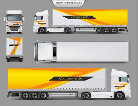 Set of vector 3d realistic icons of cargo truck, trailer front, back, top and side view isolated on gray background. Mock up, template brand design for truck, company style, identity
