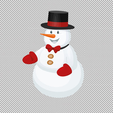 vector smiling snowman illustration  in black hat, this cute element for text, icon, card . isolated on transparent background. xmas