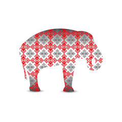 Silhouette of elephant with glossy pattern textile.