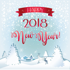 Happy New Year and Xmas Calligraphy text. greeting poster with Winter snowy forest reindeer and fir tree landscape, red ribbon banner, christmas decoration.