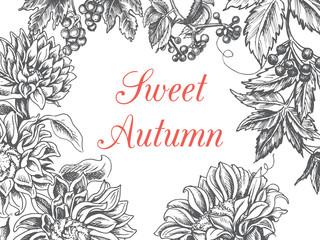 Invitation card for wedding. Illustration of autumn flowers