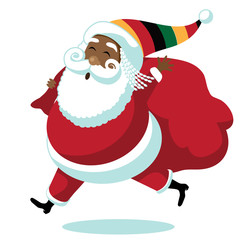Cartoon Rastafarian Santa Claus. Santa delivers gifts for Rasta Christmas. EPS 10 vector.