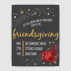Invitation card for Thanksgiving dinner in the circle of friends. Illustration with autumn berries, leaves and first snow.