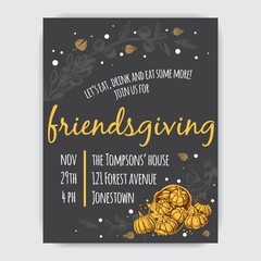 Invitation card for Thanksgiving dinner in the circle of friends.