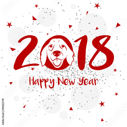 happy new year 2018 with dog head vector background design for greeting card
