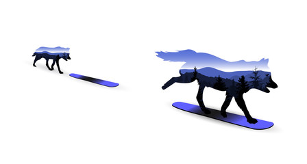 Silhouette of wolf on snowboard with mountain landscape.
