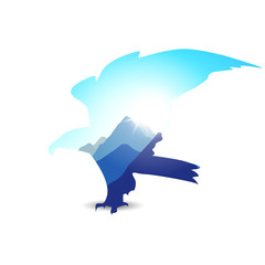 Silhouette of eagle with mountain landscape. Blue tones.