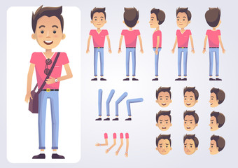 Happy student character with various views, face emotions, poses . Front, side, back view animated character