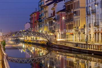 Milan. Canal Naviglio Grande at sunset.
