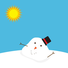 Snowman melted. flat vector illustration in cartoon style isolation on a blue background