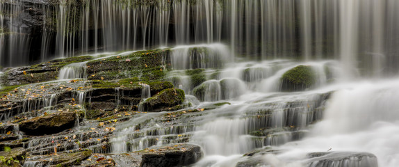 Wide format panorama of waterfall