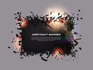 Speech bubble, exploding effect. Abstract explosion black pieces with lens flare. Explosive destruction. Particles on dark banner background. Vector illustration. Easy editable
