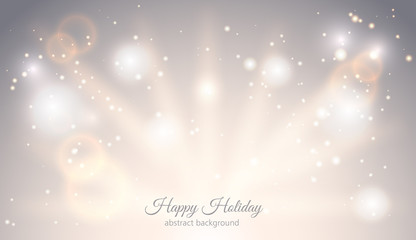 Abstract sparkling light magic horizontal background. Glow bright festive fantasy banner with rays sparks ligh effect. Elegant Starry Christmas card with place for text. Vector Illustration