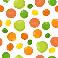 Vector seamless pattern illustration citrus fruits. Orange, lemon, lime, pomelo, mandarin, grapefruit
