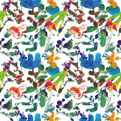 Abstract botanical seamless vintage floral pattern.
