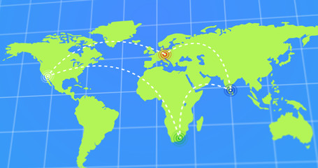 Animated Travel and Business Trip Infographic on Planet Earth Map 4k Rendered Illustration