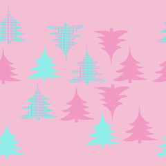 Seamless pattern  of spruce Christmas, scribbles. Hand drawn.