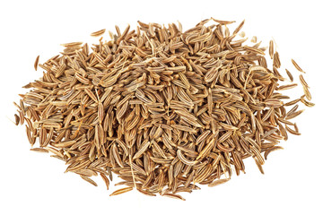 Dried cumin seeds on a white background