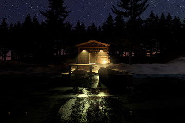 3d rendering of illuminated wooden log cabin behind frozen lake at night