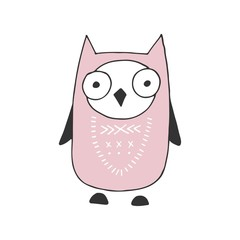 Cute hand drawn nursery poster with cartoon owl in scandinavian style. Color vector illustration