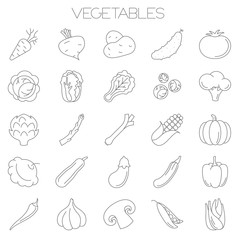 vegetables vector icon set
